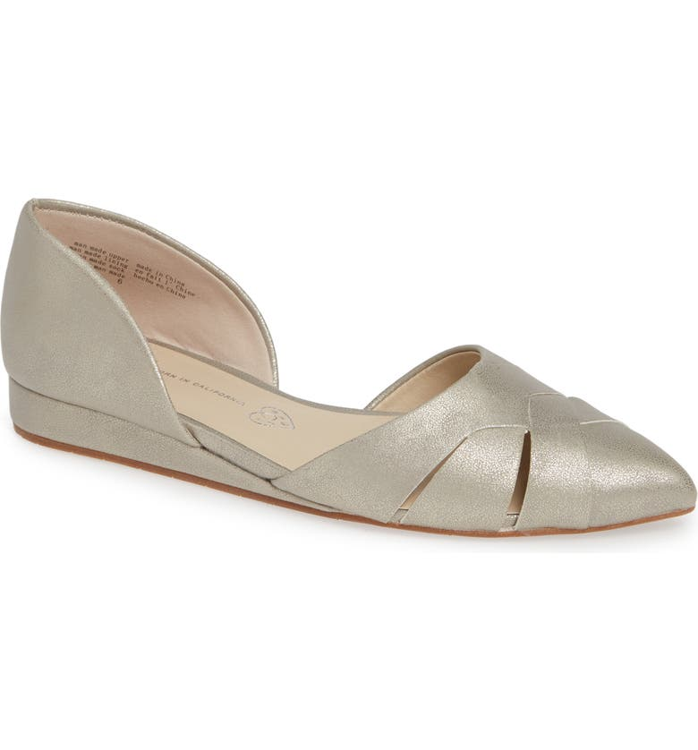 BC FOOTWEAR Focal Point Vegan Pointy Toe Flat, Main, color, DISTRESSED PEWTER