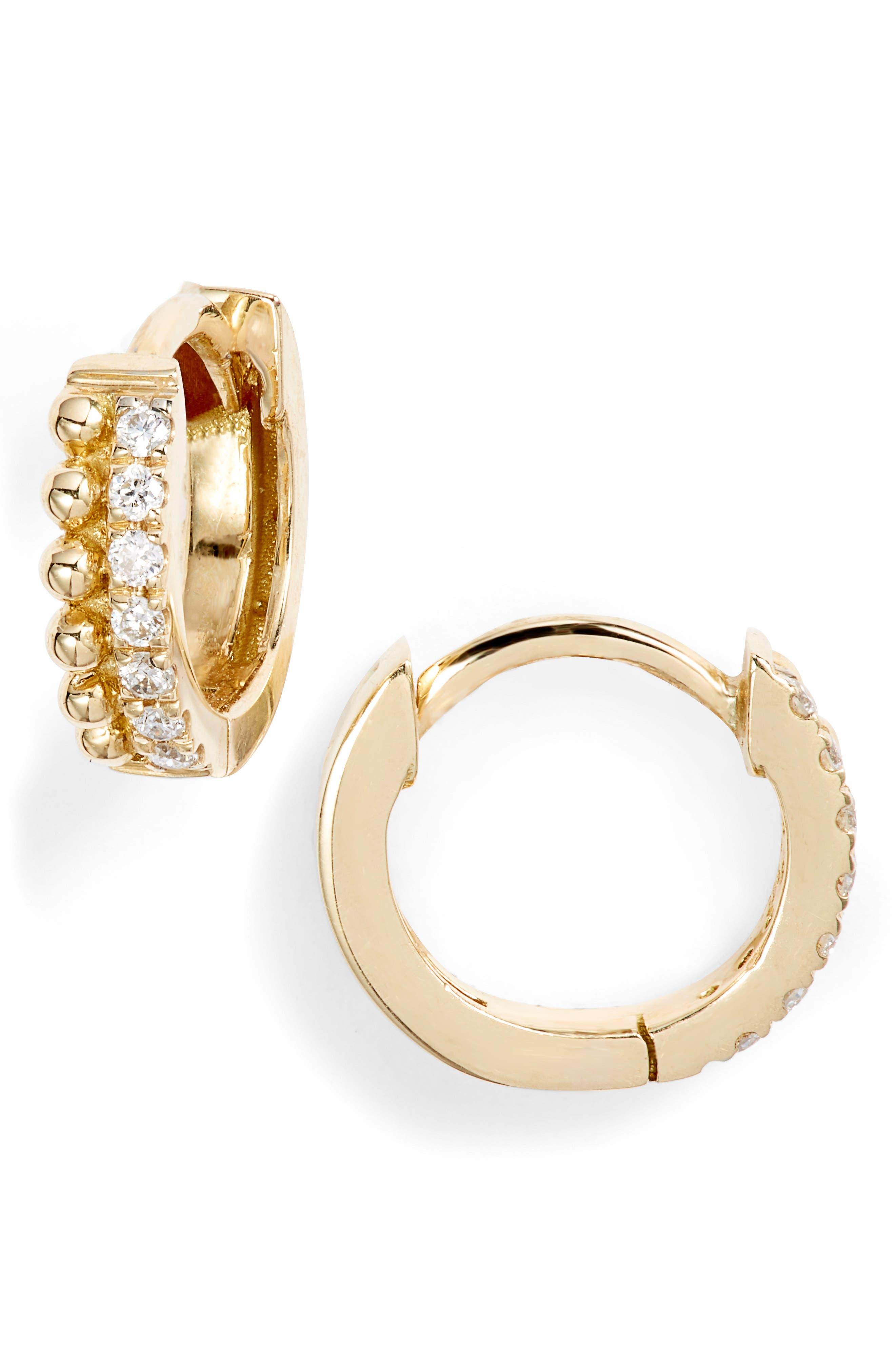 Diamond & Gold Bead Huggies (Nordstrom Exclusive)