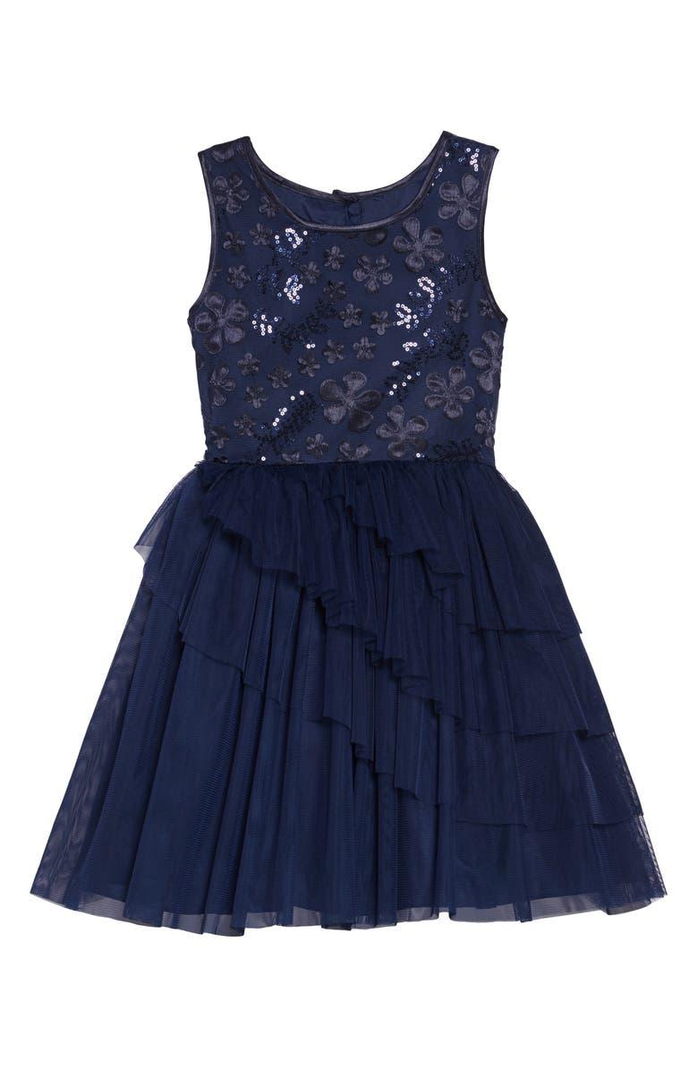 FRAIS 3D Sequin Embellished Fit & Flare Tulle Dress, Main, color, 410