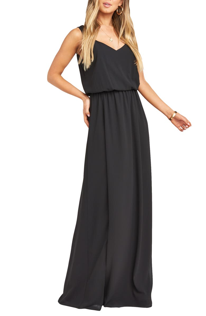 SHOW ME YOUR MUMU Kendall Soft V-Back A-Line Gown, Main, color, BLACK CHIFFON