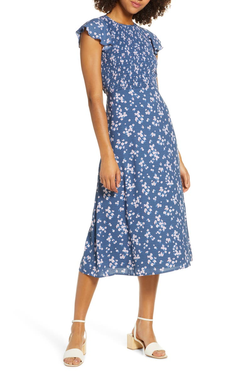ALI & JAY Casa Del Mar Smocked Floral Midi Dress, Main, color, 450