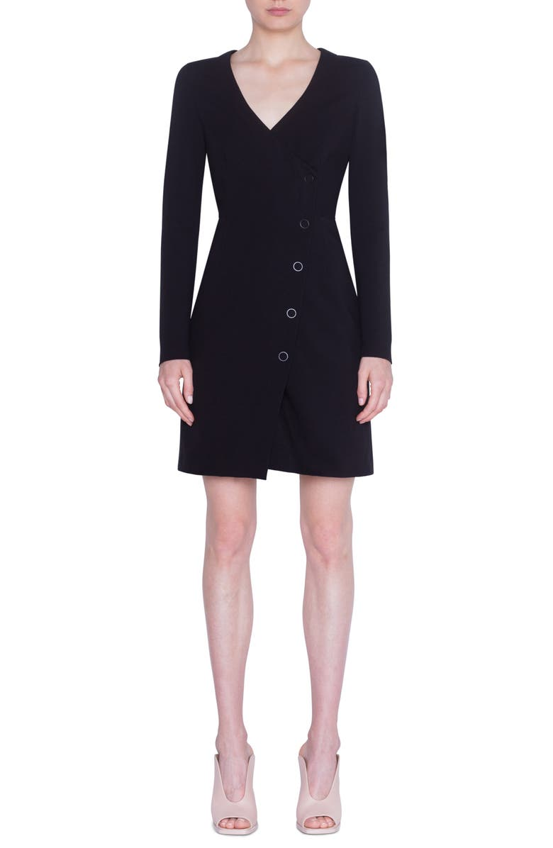 AKRIS PUNTO Long Sleeve Jersey Minidress, Main, color, BLACK