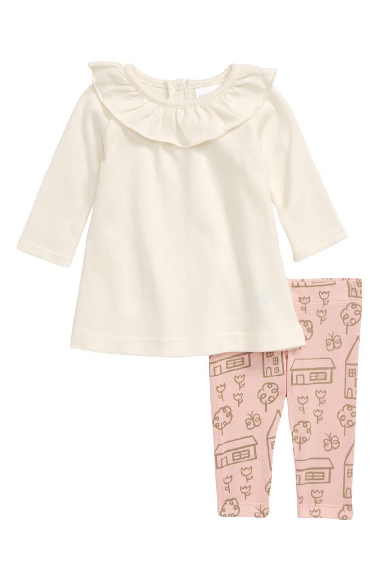 NORDSTROM BABY Ruffle Top & Print Leggings Set, Main, color, IVORY EGRET- PINK HOUSES