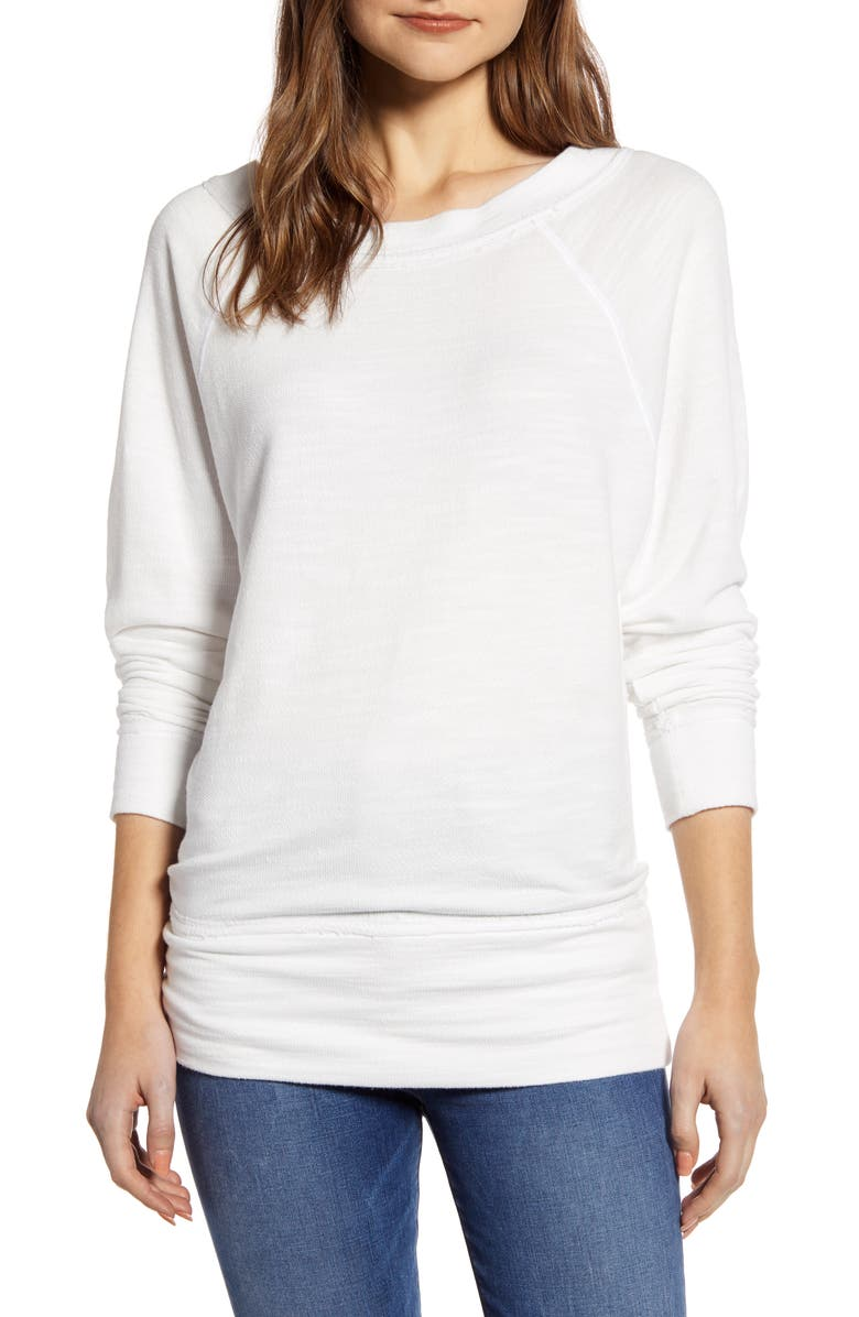 CASLON<SUP>®</SUP> Dolman Sleeve Cotton Blend Pullover, Main, color, WHITE