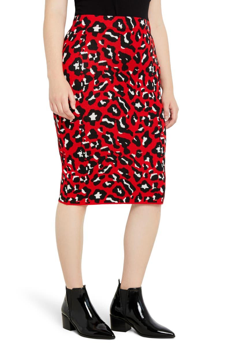 ELOQUII Leopard Jacquard Pencil Skirt, Main, color, SPECKLED CHEETAH