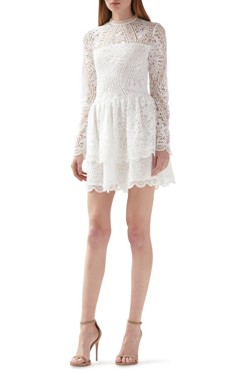 ML MONIQUE LHUILLIER Long Sleeve Lace Minidress, Main, color, 100