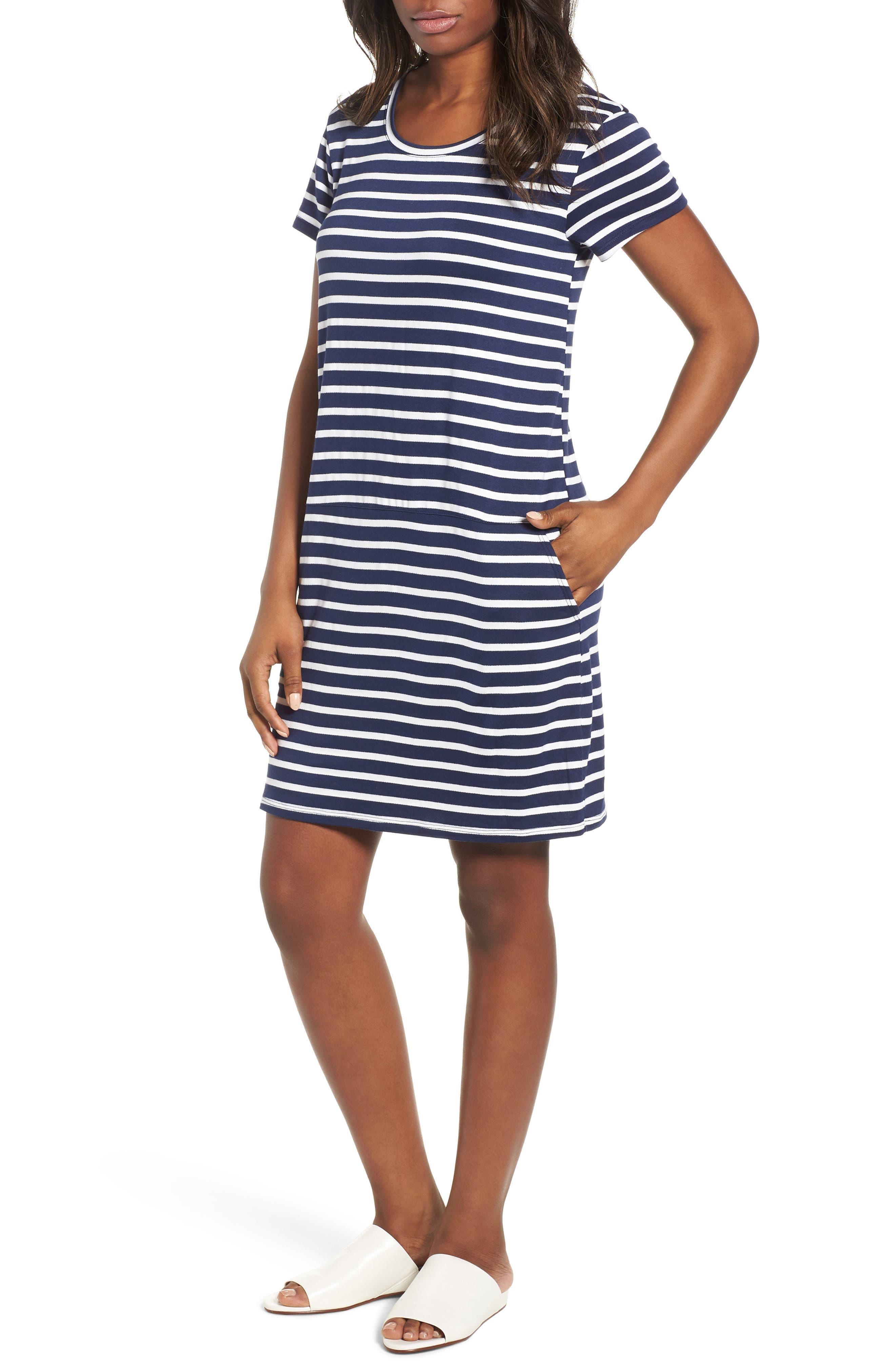 Knit Shift Dress, Main, color, NAVY- WHITE CONSTANZA STRIPE