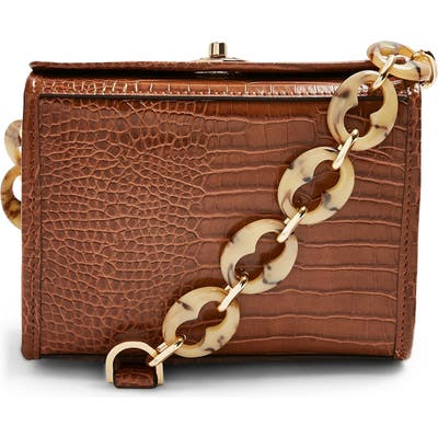 Topshop Shaw Crocodile Shoulder Bag - Brown