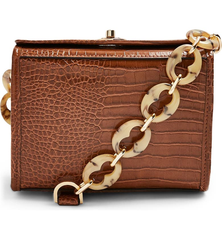 TOPSHOP Shaw Crocodile Shoulder Bag, Main, color, BROWN