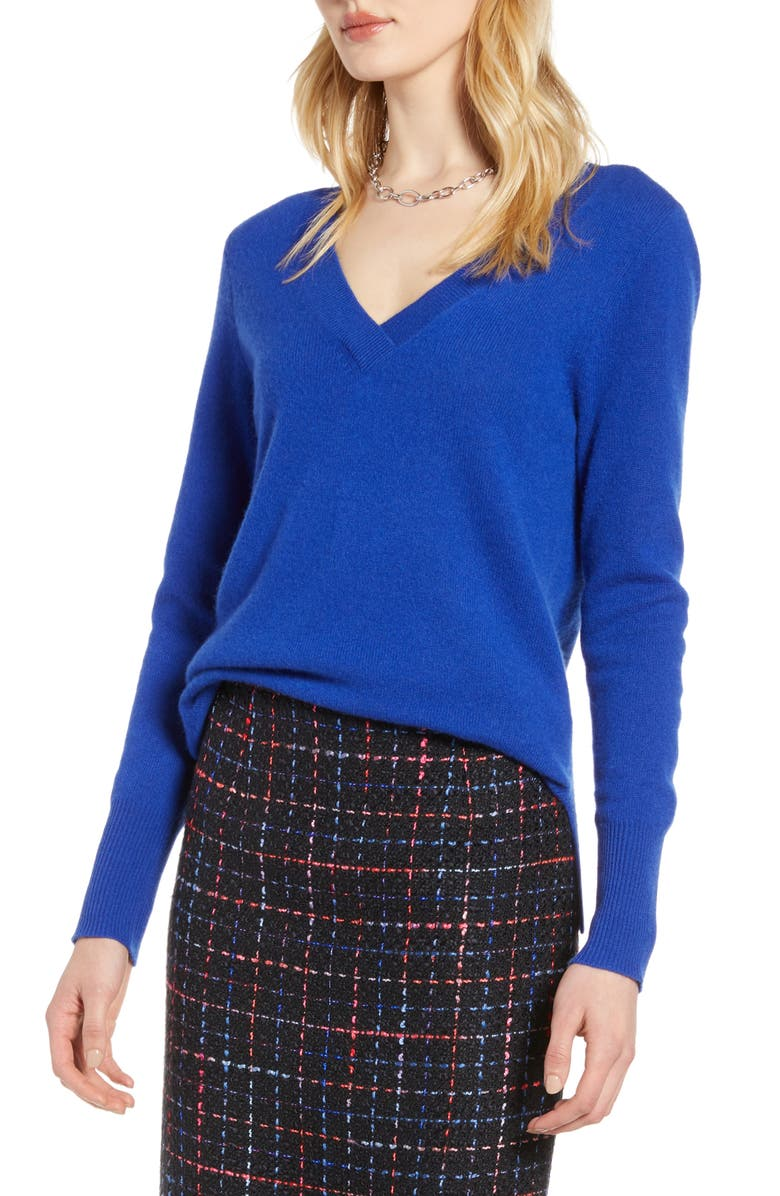 HALOGEN<SUP>®</SUP> V-Neck Cashmere Sweater, Main, color, BLUE MAZARINE