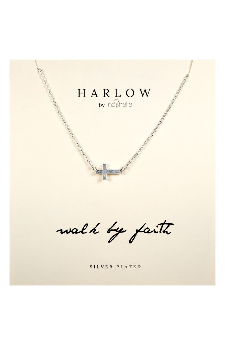 NASHELLE HARLOW by Nashelle Sideways Cross Boxed Necklace, Main, color, SILVER