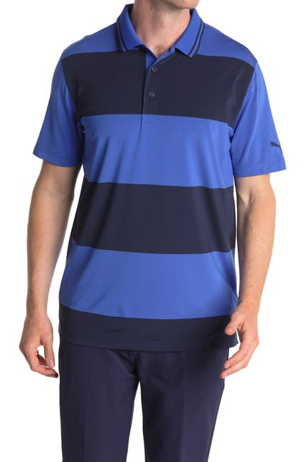 Image of PUMA Blue Striped Rugby Golf Polo