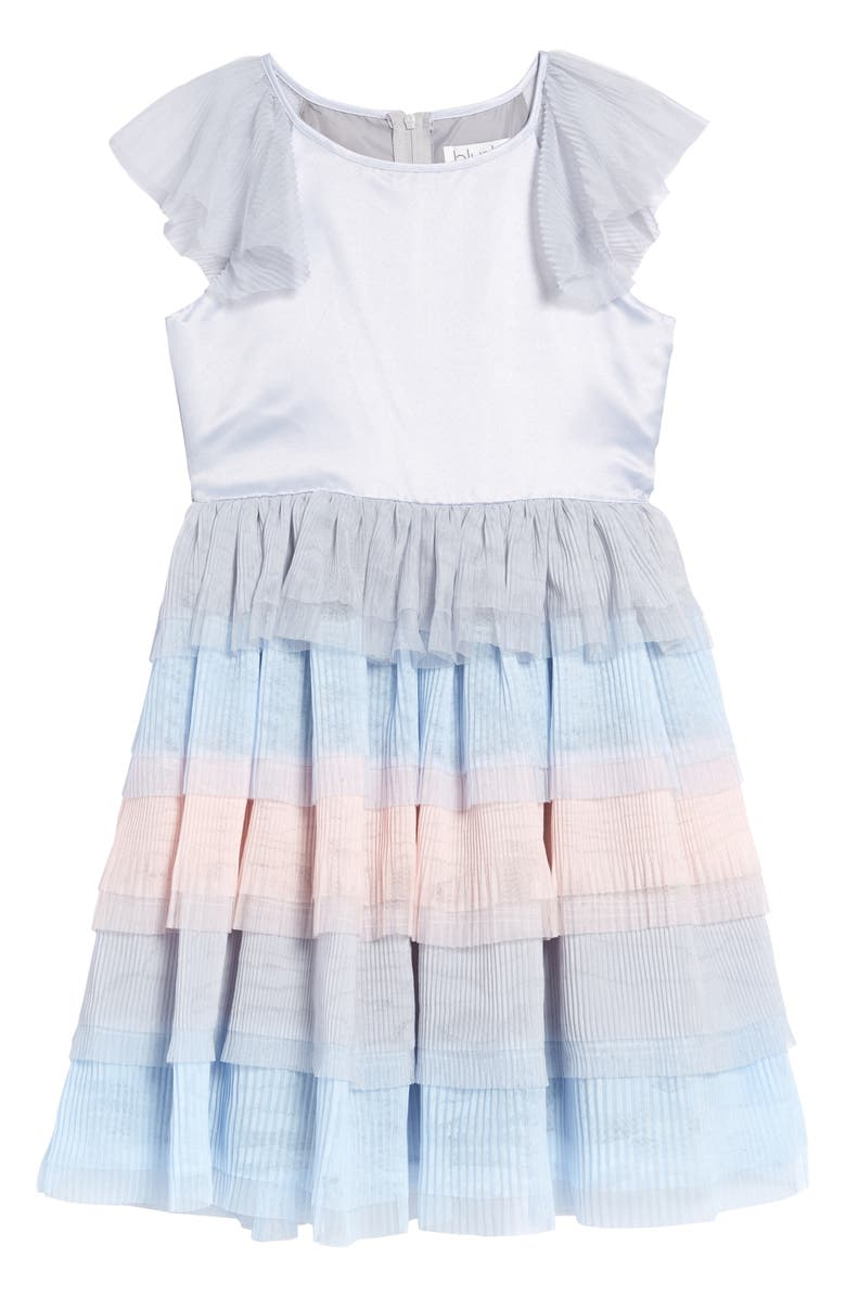 BLUSH BY US ANGELS Satin & Chiffon Tiered Dress, Main, color, SILVER