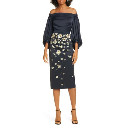 Ted Baker London Pearl Floral Off The Shoulder Midi Dress, (fits like 14 US) - Blue