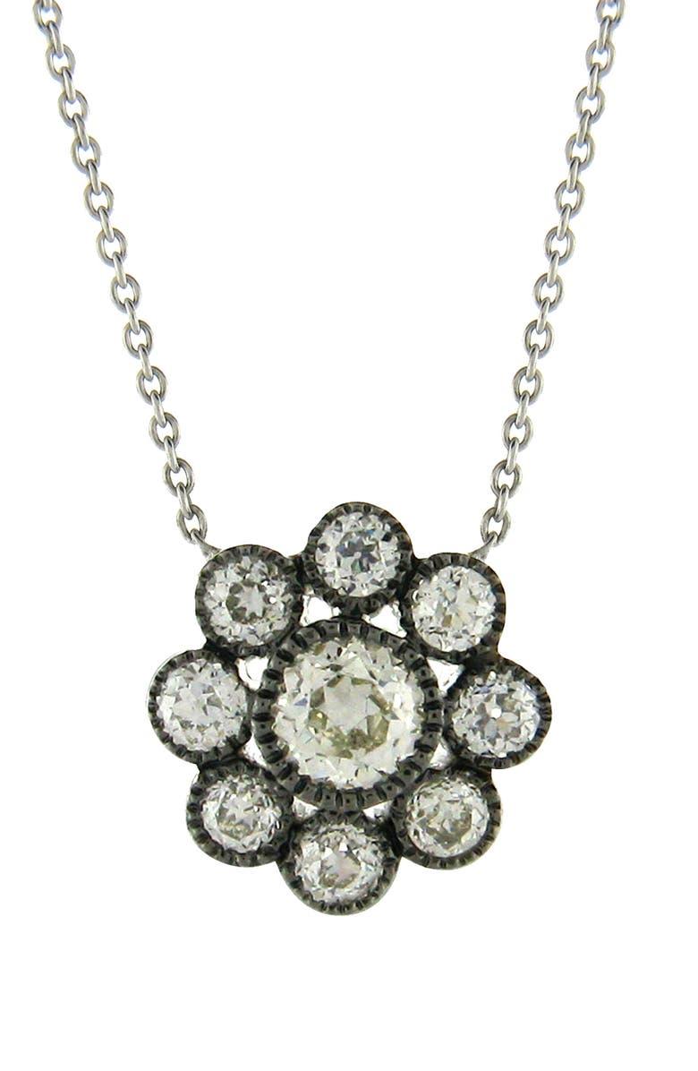 SETHI COUTURE Old Mine Diamond Cluster Pendant Necklace, Main, color, BLACK