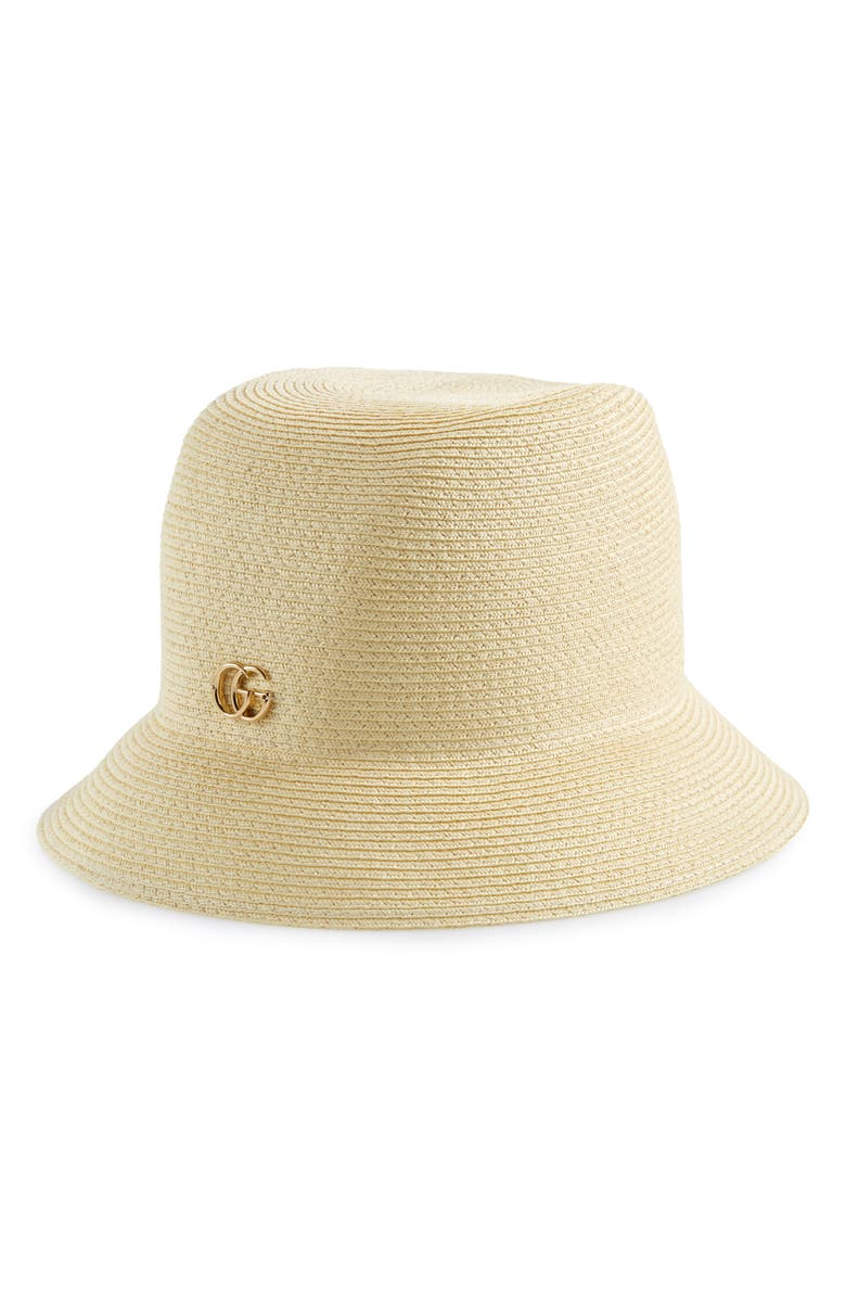 GUCCI Straw Bucket Hat, Main, color, IVORY