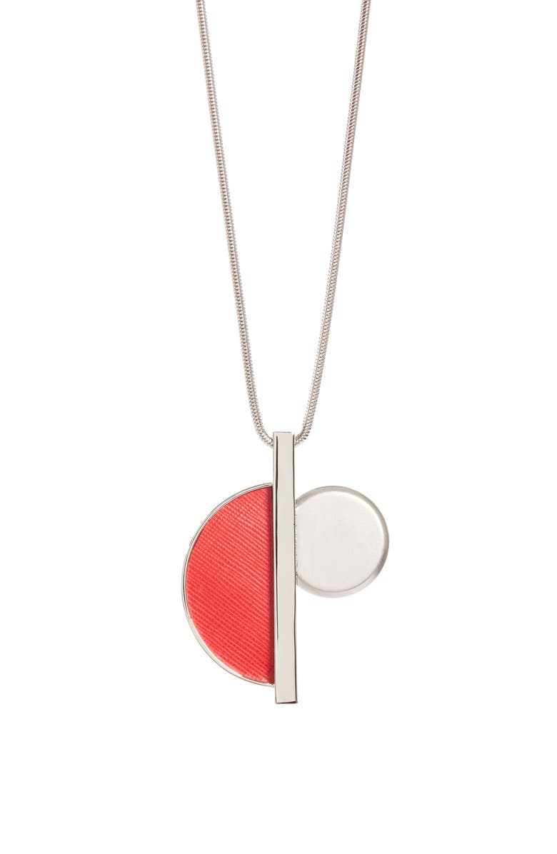 ST. JOHN COLLECTION Leather Detail Geo Necklace, Main, color, 040