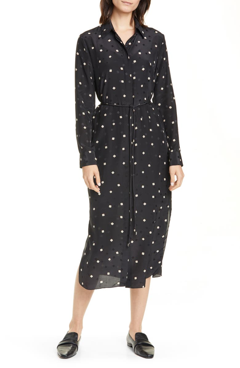 THEORY Belted Silk Shirtdress, Main, color, BLACK MULTI