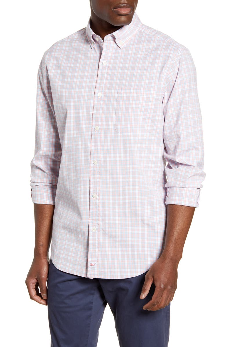 VINEYARD VINES Murray Classic Fit Pastel Check Button-Down Shirt, Main, color, HIBISCUS