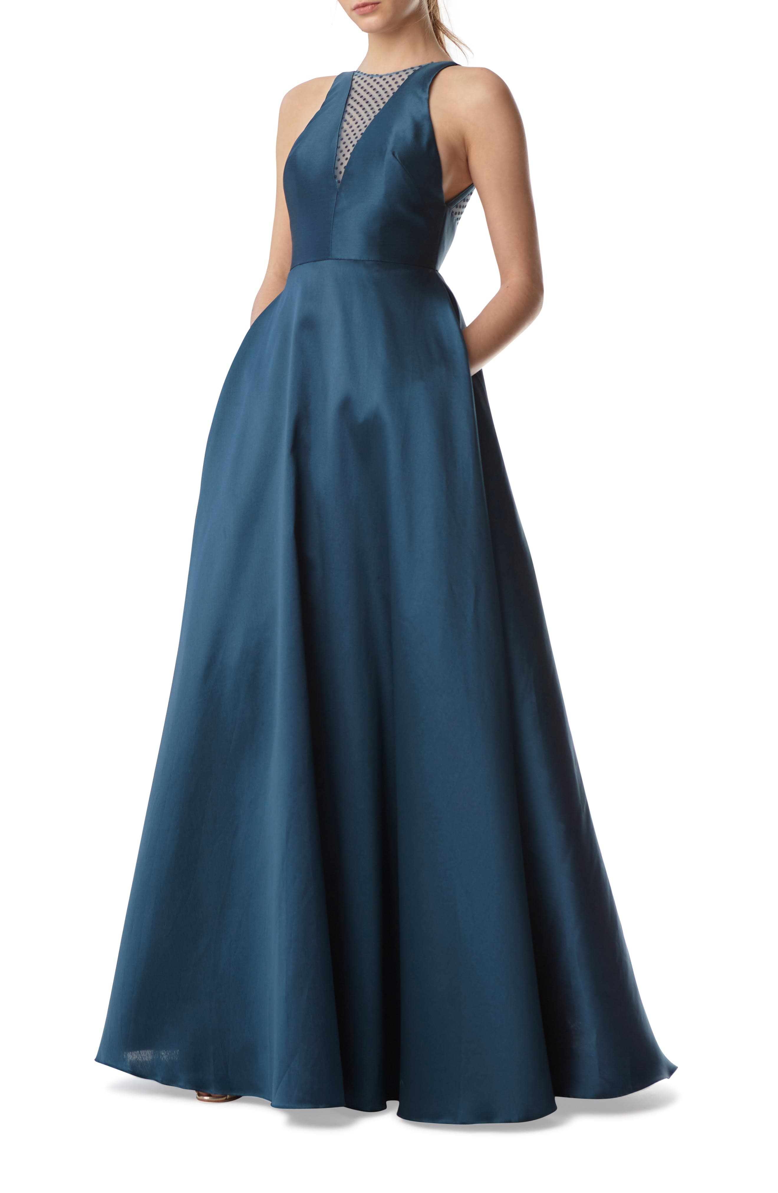 ,                             Mesh Inset Ball Gown,                             Main thumbnail 1, color,                             440