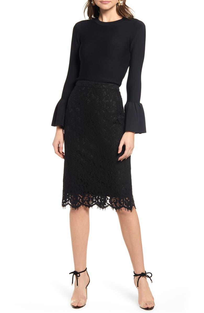 RACHEL PARCELL Lace Pencil Skirt, Main, color, 001