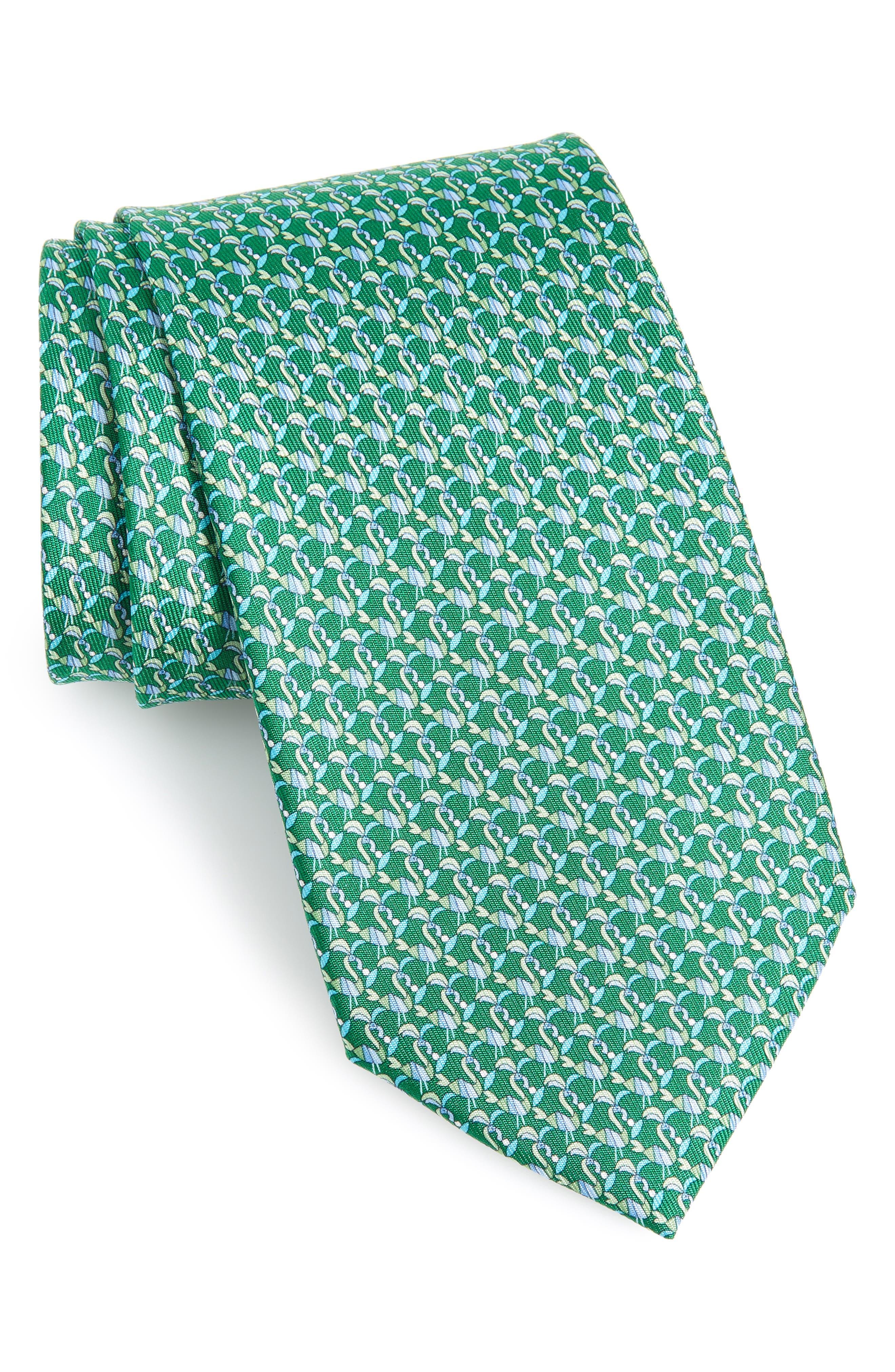 Flamingo Print Silk Tie, Main, color, VERDE