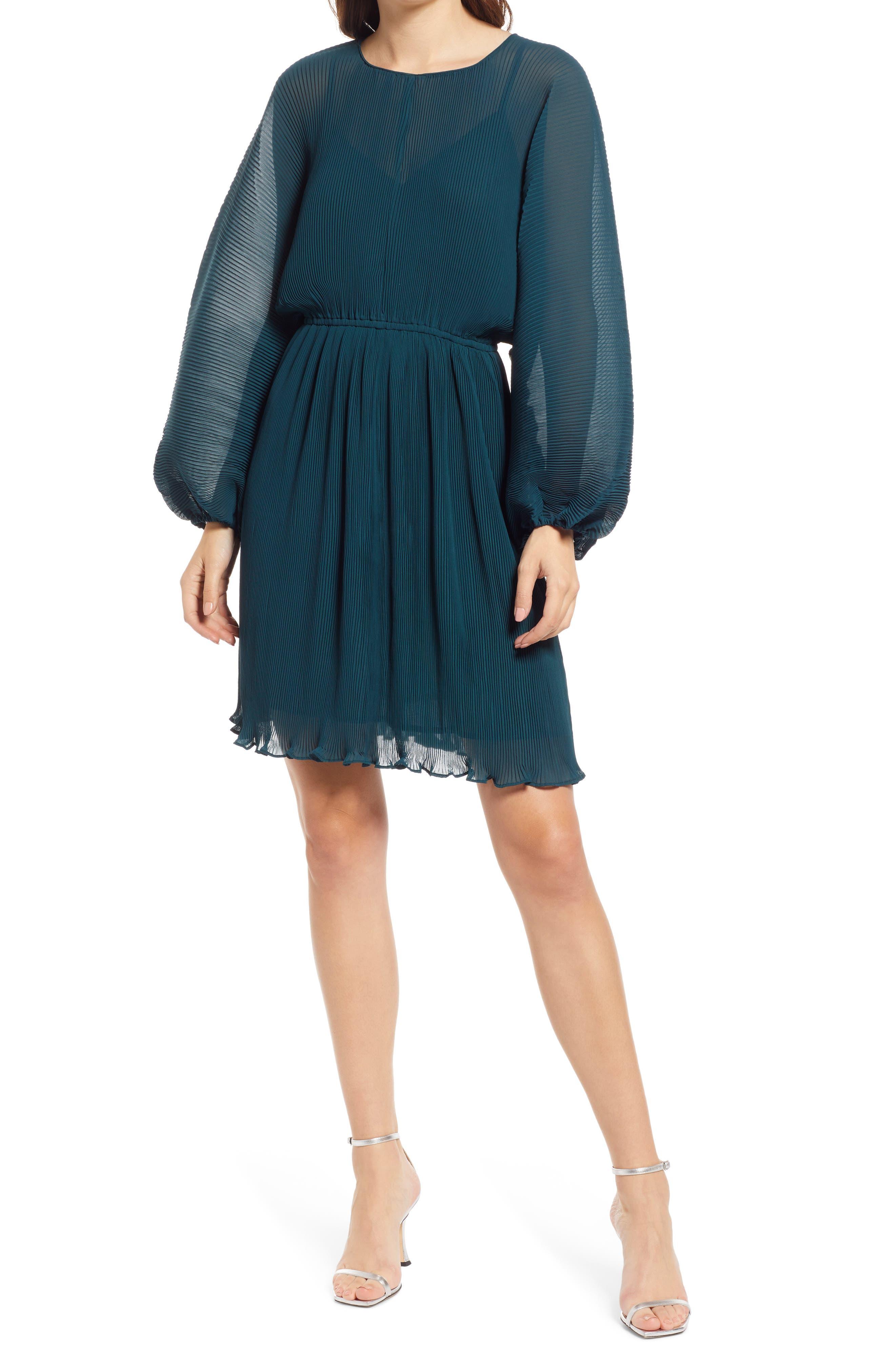 Pleated Long Sleeve Minidress