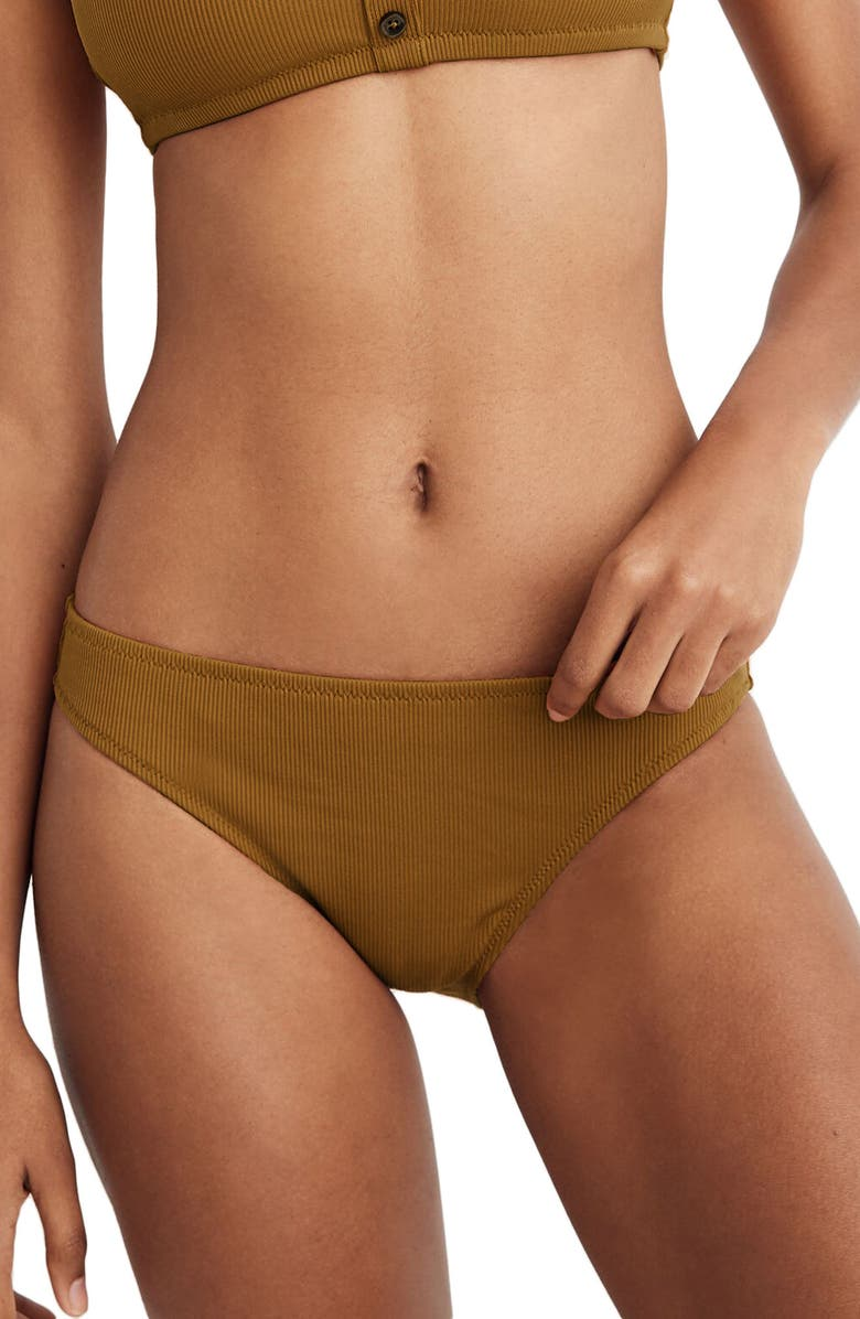 MADEWELL Second Wave Rib Classic Bikini Bottoms, Main, color, DARK TOBACCO