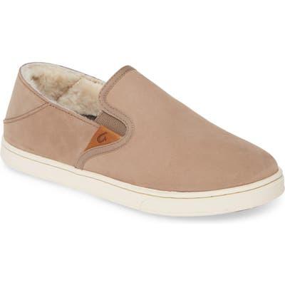Olukai Pehuea Heu Genuine Shearling Slip-On Sneaker, Beige