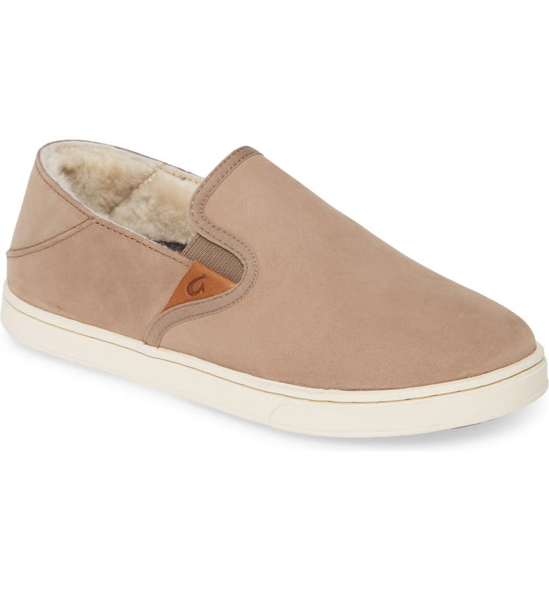 OLUKAI Pehuea Heu Genuine Shearling Slip-On Sneaker, Main, color, TAUPE GREY LEATHER