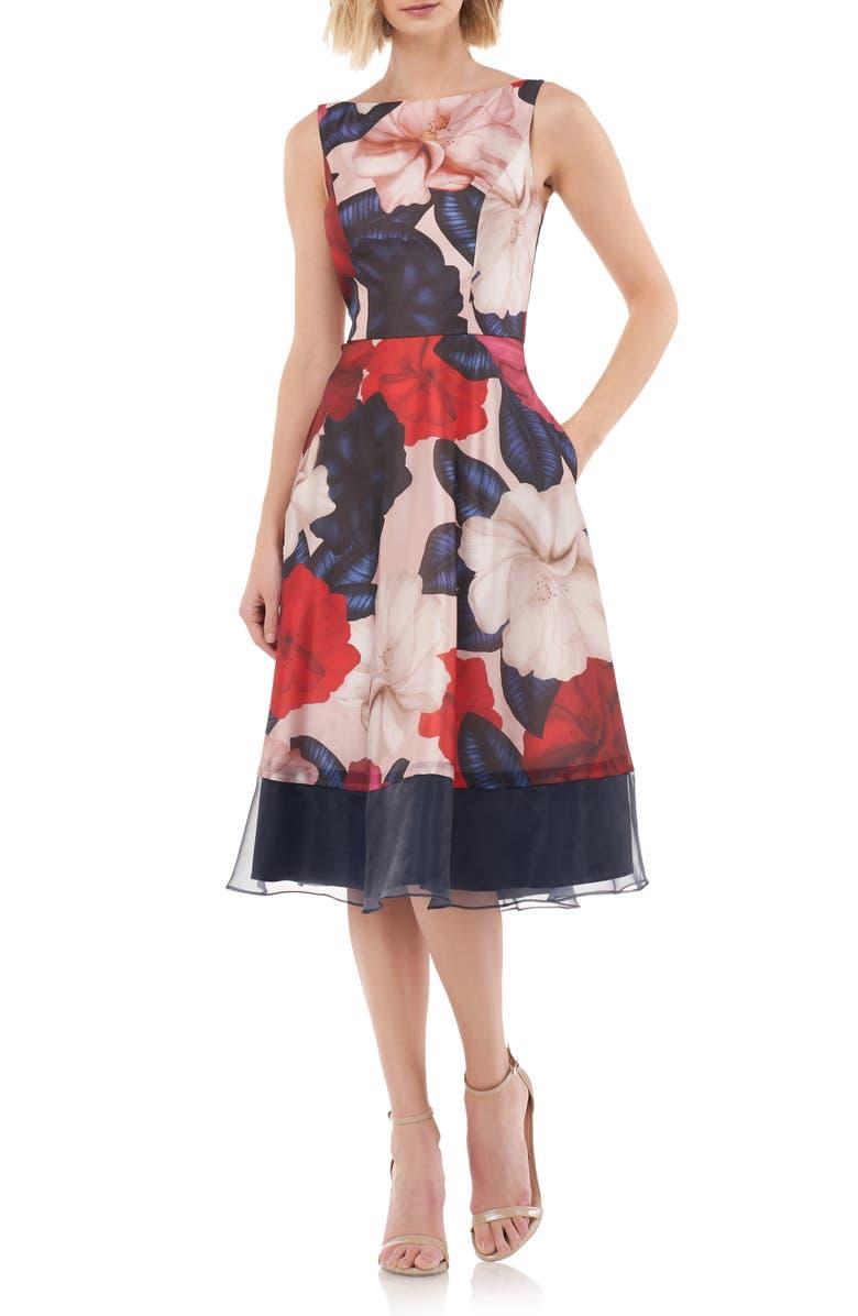 KAY UNGER Floral Fit & Flare Dress, Main, color, 680