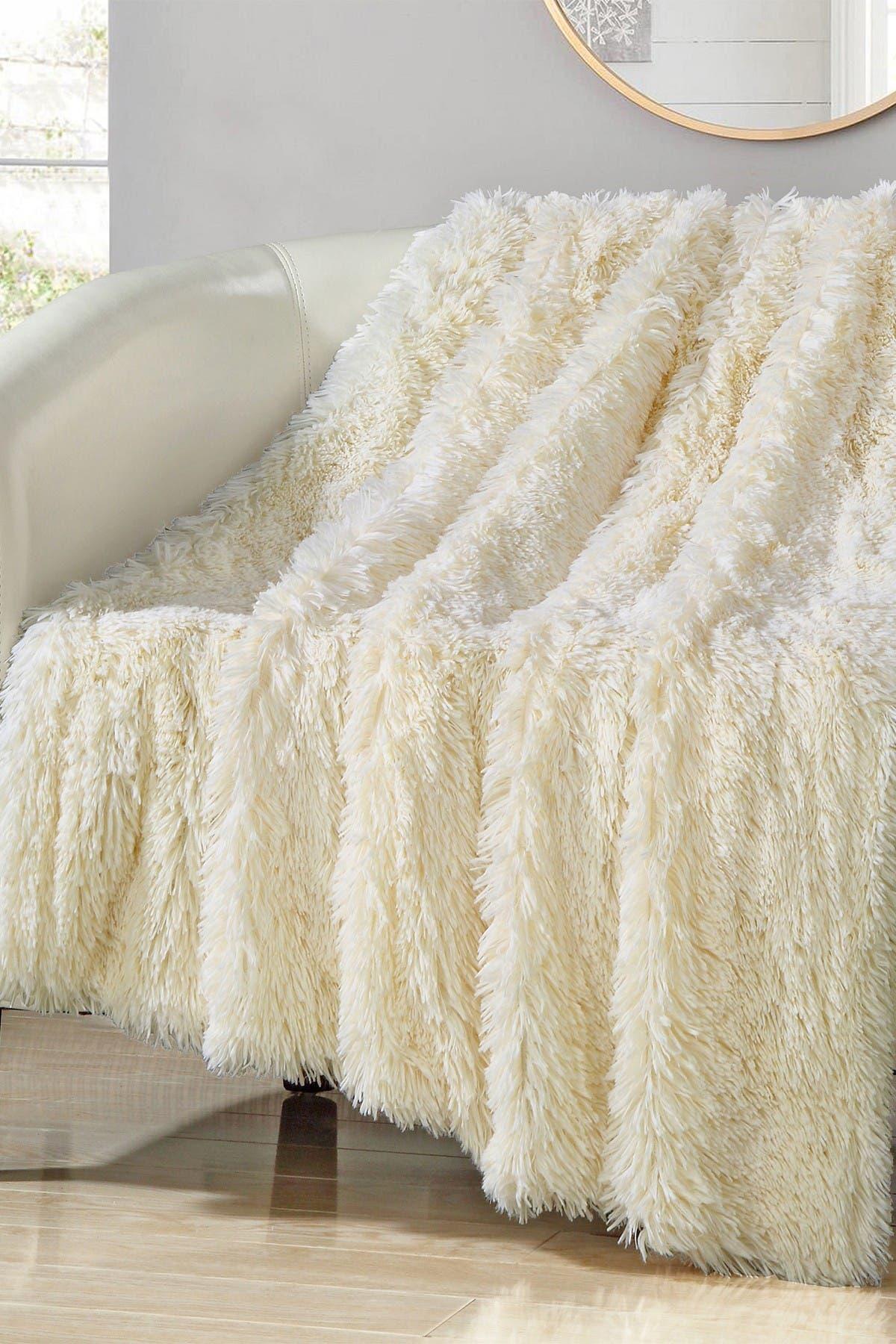 Image of Chic Home Bedding Beige Alaska Faux Fur Throw Blanket