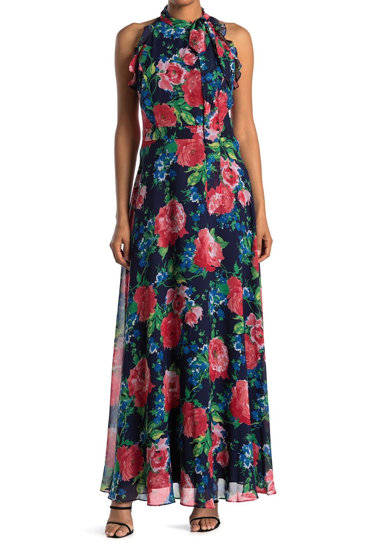 Image of Tahari Floral Halter Tie Neck Sleeveless Chiffon Maxi Dress