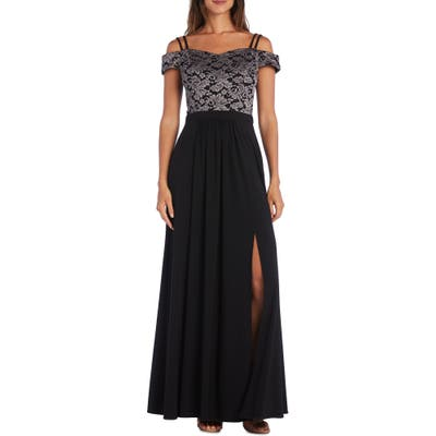 Morgan & Co. Lace Cold Shoulder Strappy Gown, Black