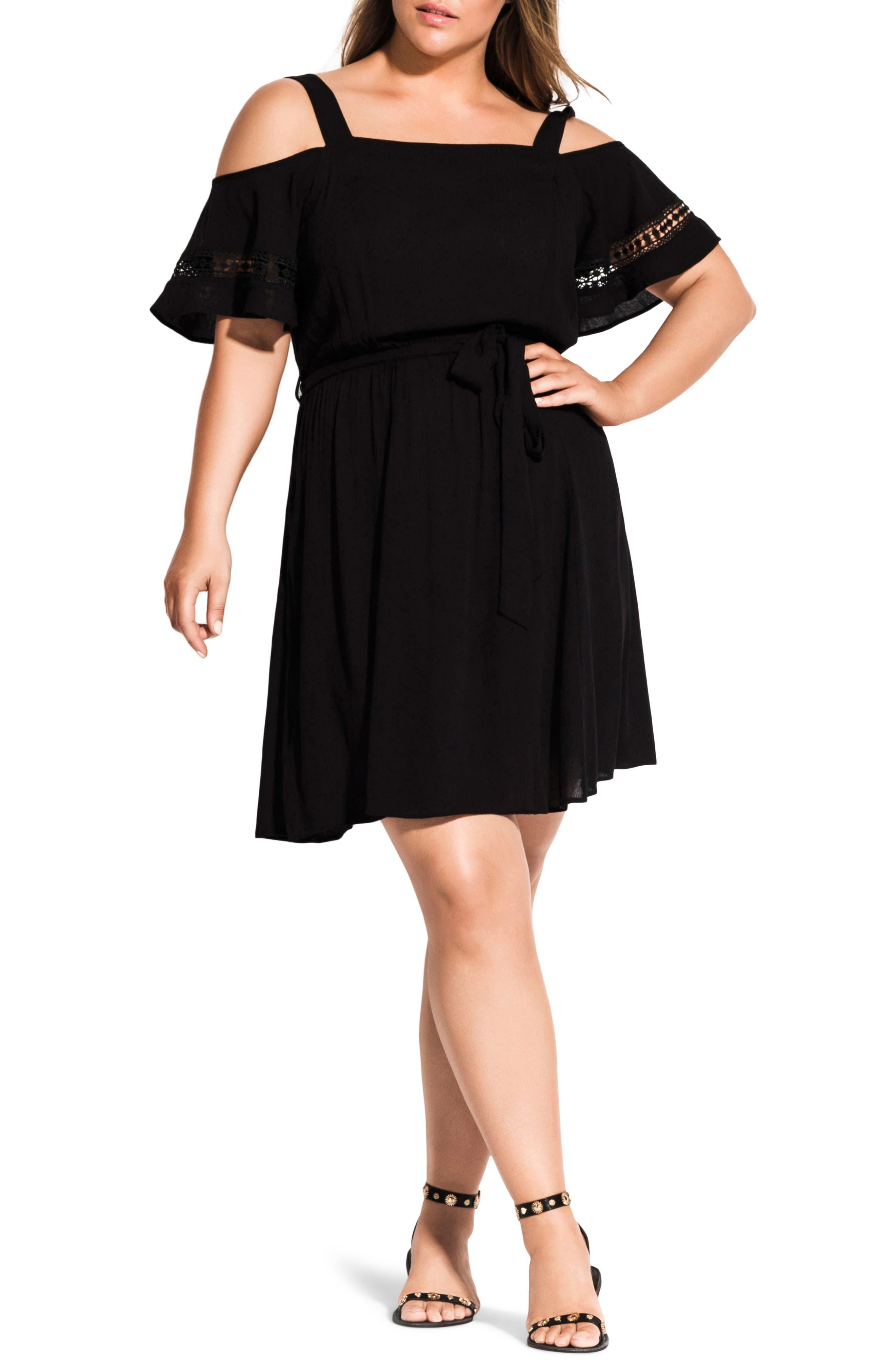 Plus Size City Chic Cold Shoulder Embroidered Dress, Black