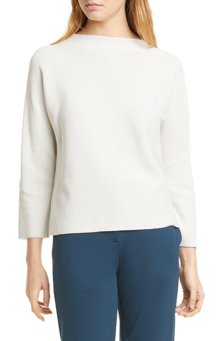 EILEEN FISHER Funnel Neck Silk & Organic Cotton Sweater, Main, color, BONE