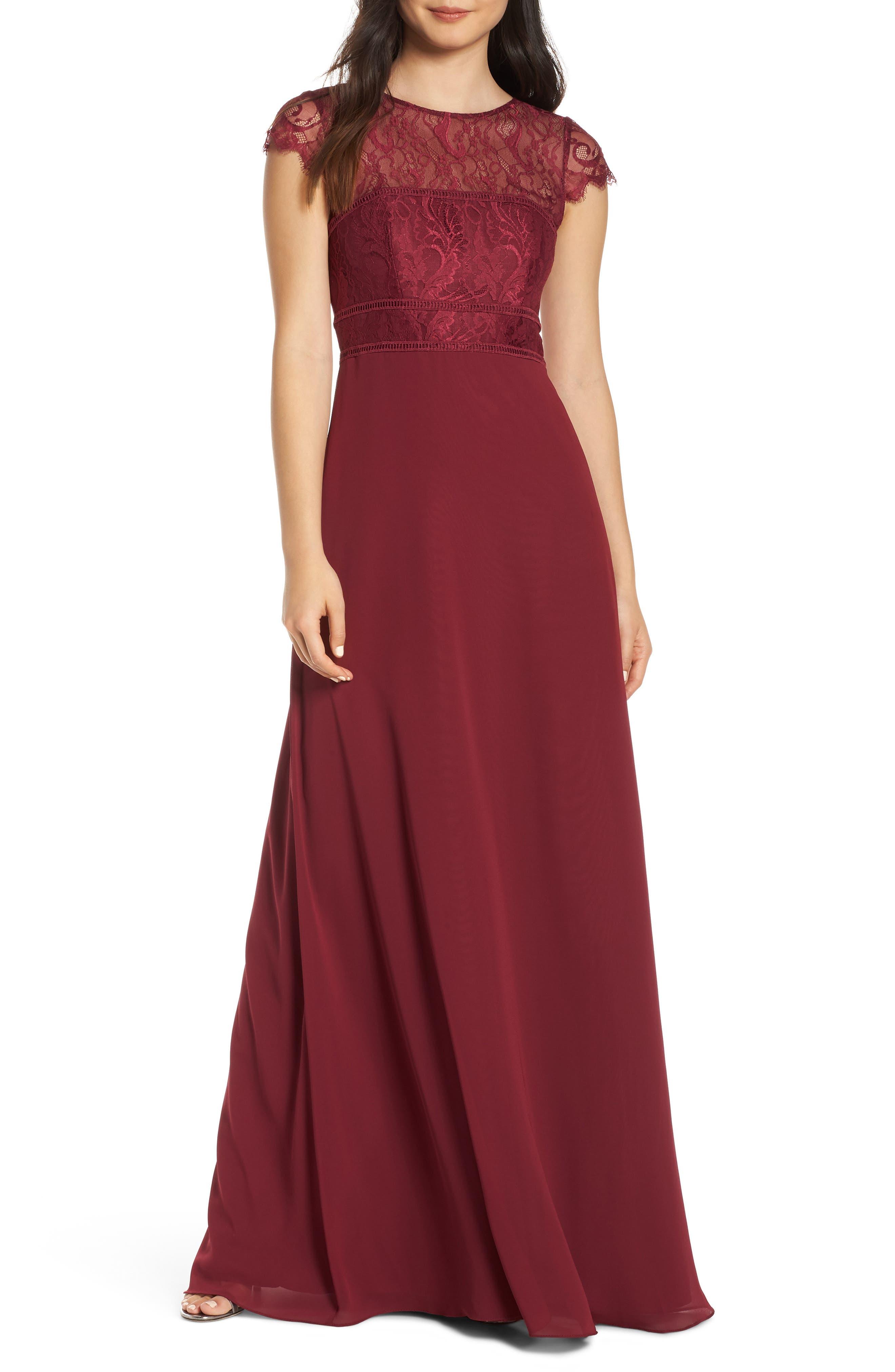 Hayley Paige Occasions Lace Bodice Chiffon Evening Dress, Burgundy