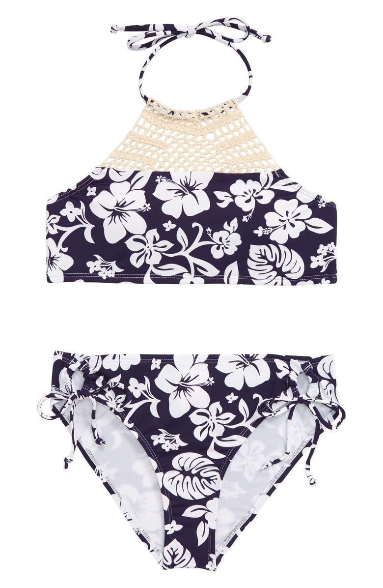 HOBIE Crochet Neck Two-Piece Halter Swimsuit, Main, color, BLUE