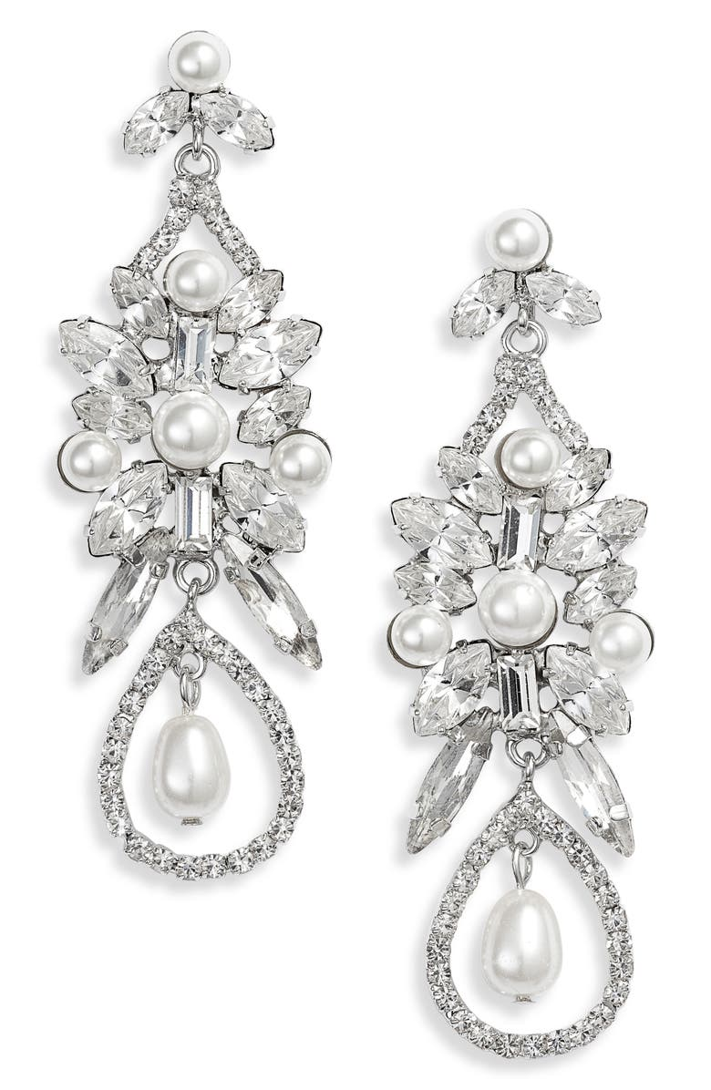 CRISTABELLE Imitation Pearl and Crystal Drop Earrings, Main, color, 100