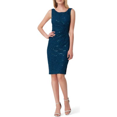 Tahari Sequin Stretch Lace Sheath Dress, Blue/green