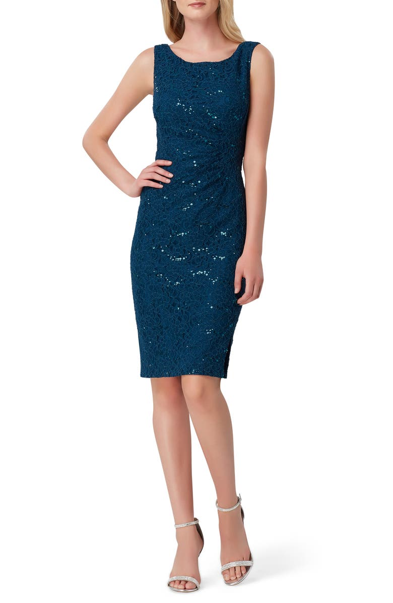 TAHARI Sequin Stretch Lace Sheath Dress, Main, color, TEAL