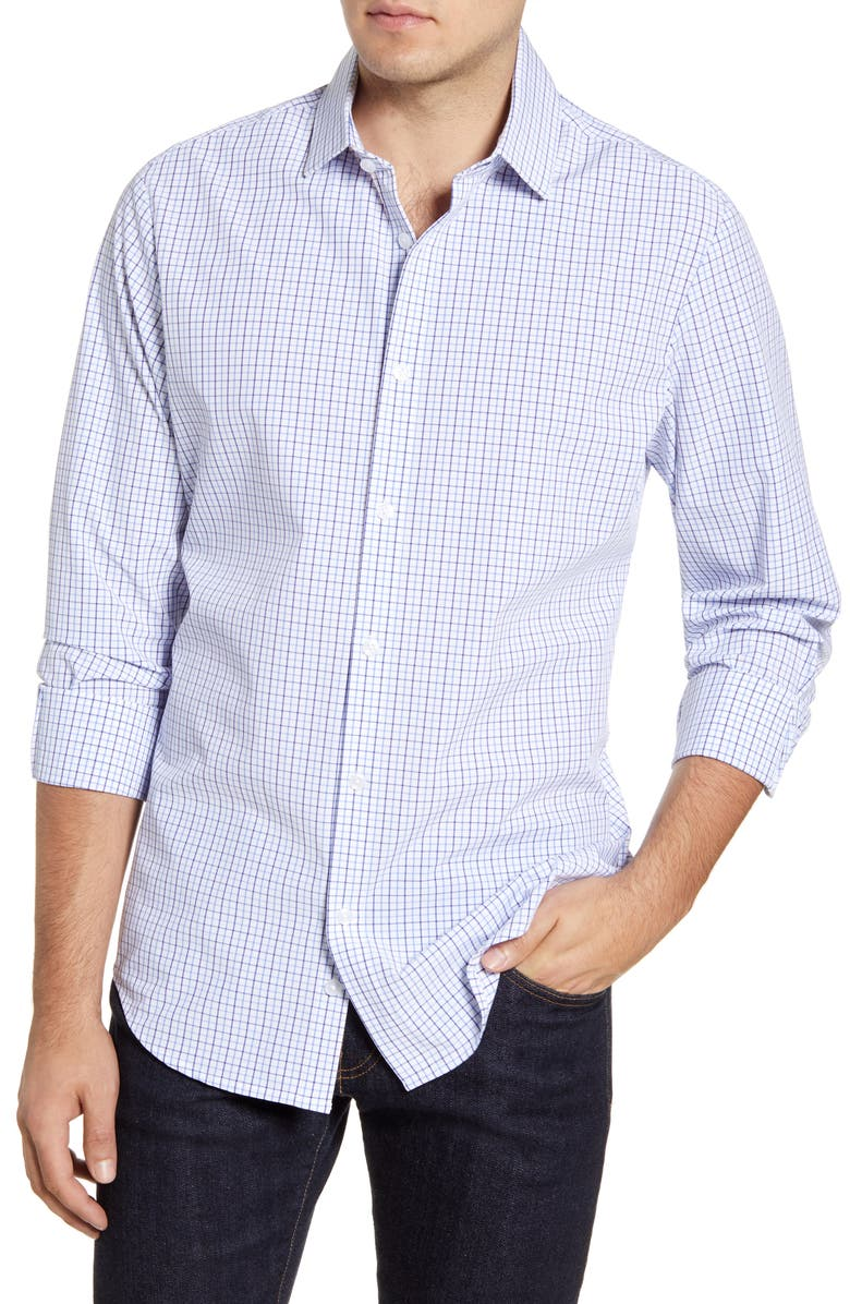 MIZZEN+MAIN Bolling Tattersall Button-Up Performance Sport Shirt, Main, color, LIGHT BLUE