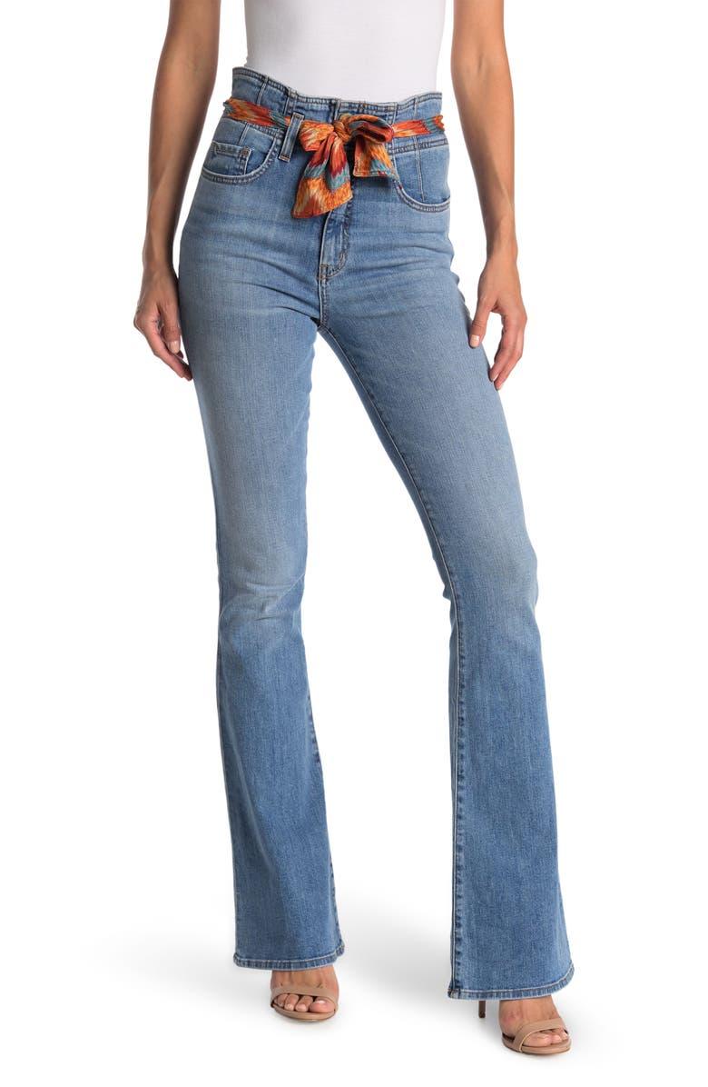 RAMY BROOK Natalia Tie Belt Flare Leg Jeans, Main, color, LIGHTWASH W. MULTI BELT