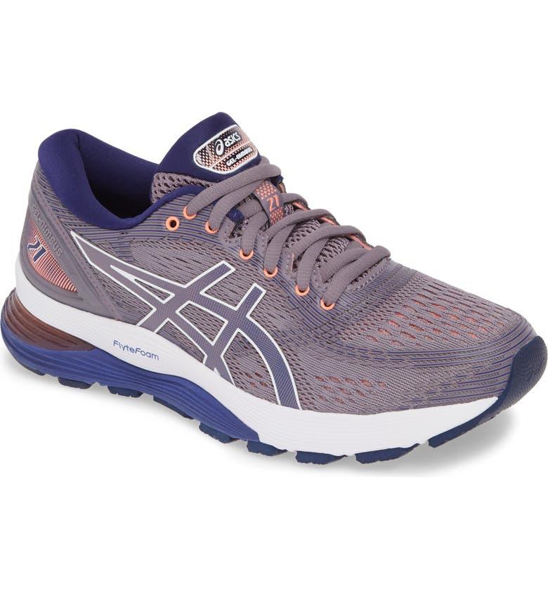 ASICS<SUP>®</SUP> GEL-Nimbus 21 Running Shoe, Main, color, LAVENDER GREY/ DIVE BLUE