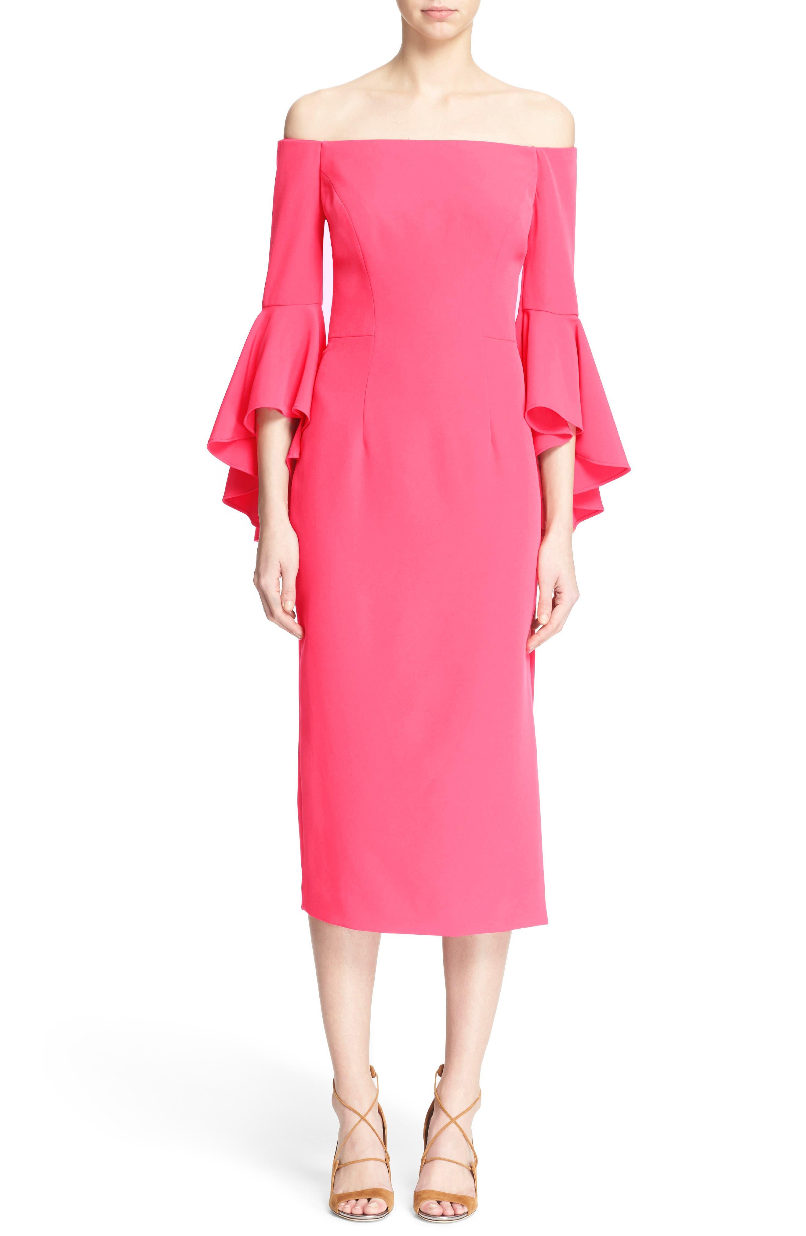 ,                             Selena Off the Shoulder Midi Dress,                             Main thumbnail 54, color,                             677
