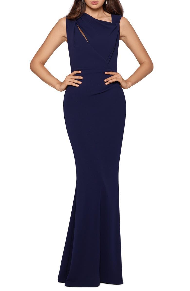 XSCAPE Drape Shoulder Scuba Mermaid Gown, Main, color, NIGHT