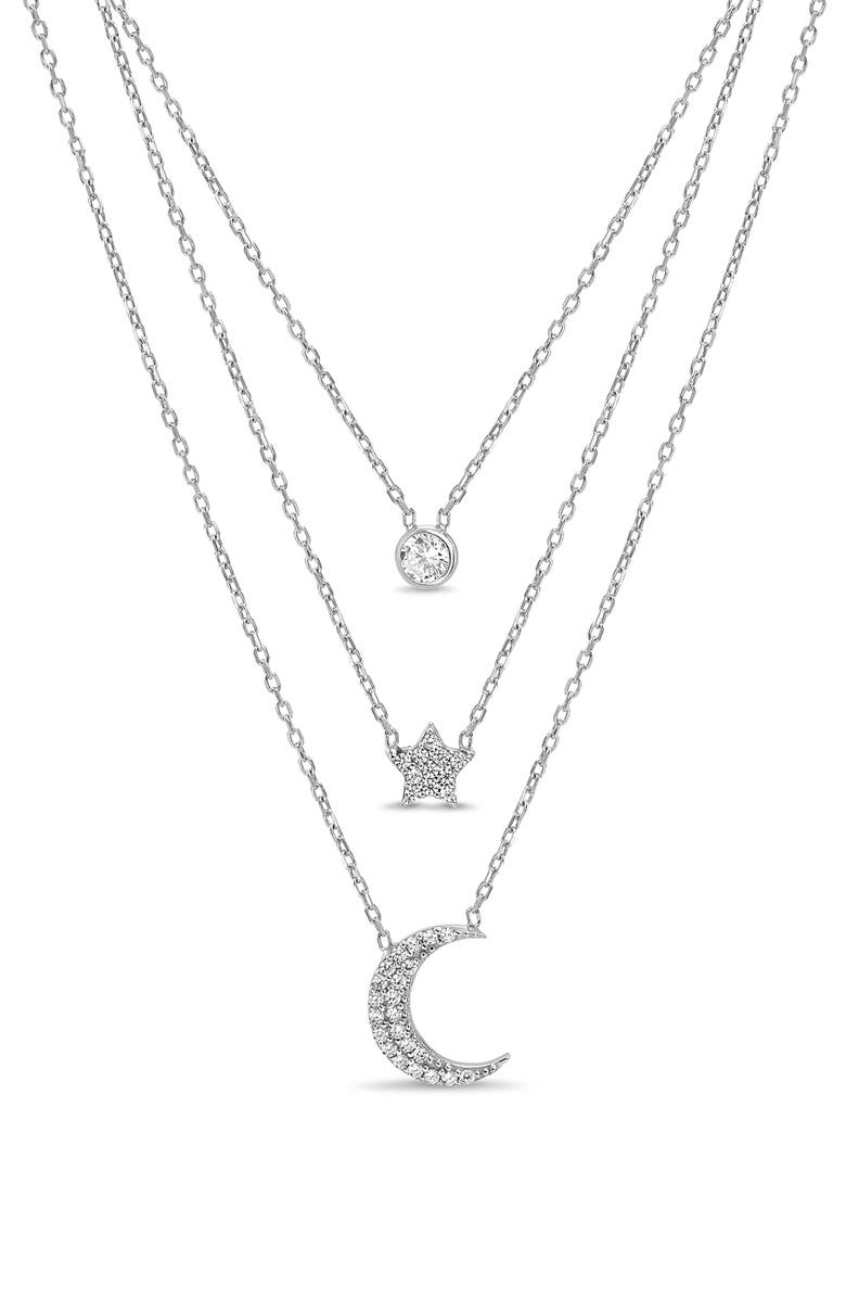 LESA MICHELE Celestial Station Triple Layer Necklace, Main, color, SILVER