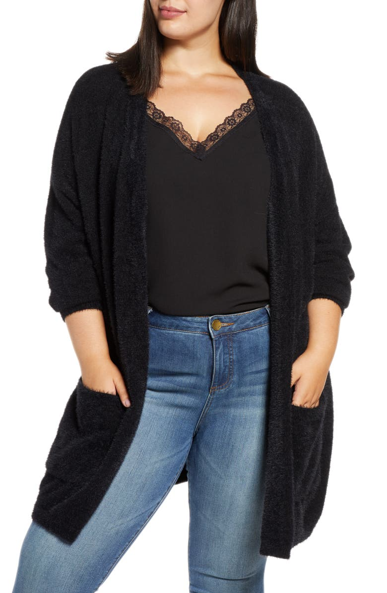 RACHEL RACHEL ROY Amara Fuzzy Cardigan, Main, color, BLACK