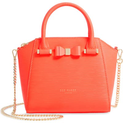 Ted Baker London Ddella Bow Leather Mini Satchel - Orange