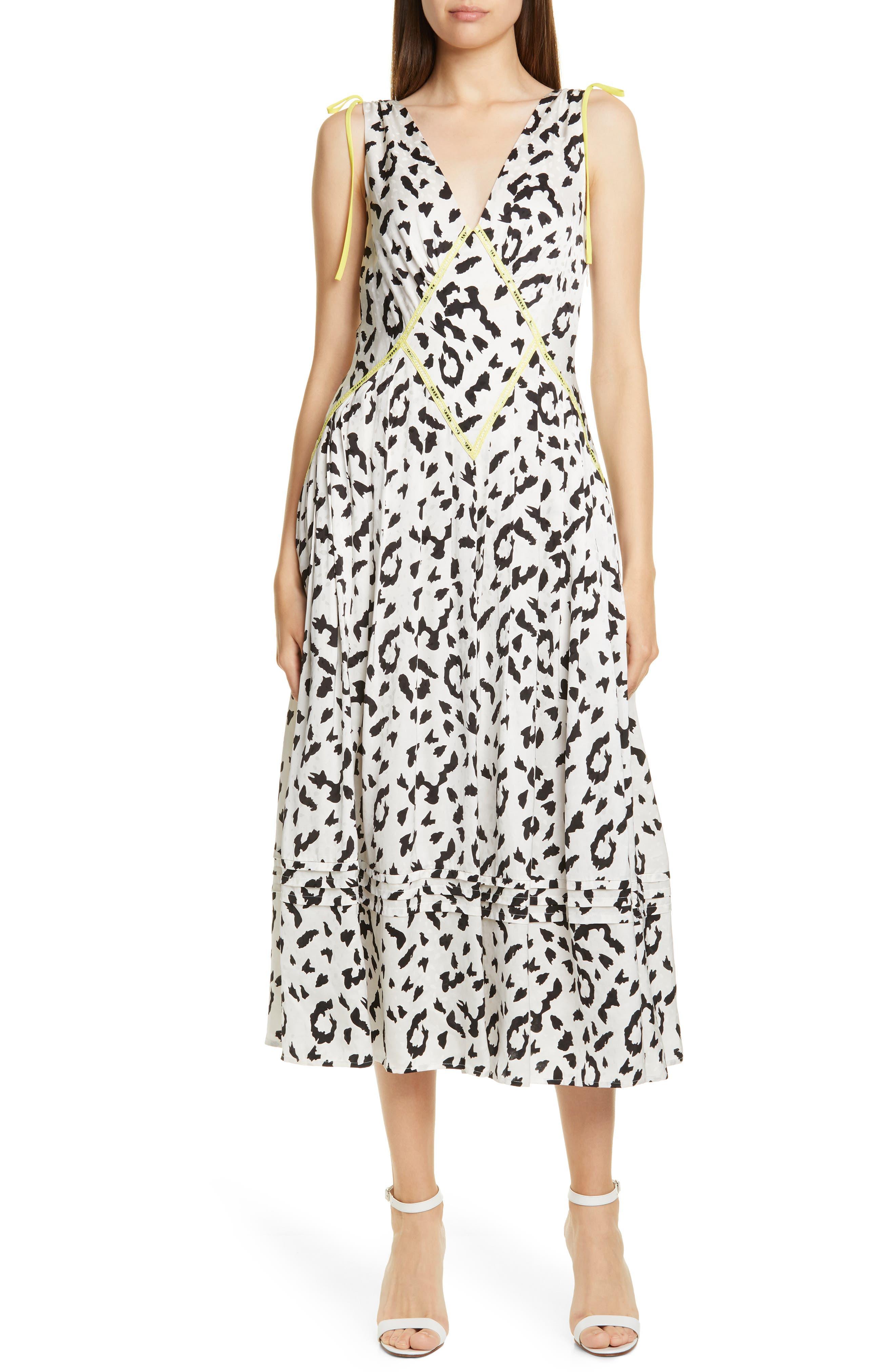 Self-Portrait Leopard Print Fit & Flare Midi Dress, Ivory